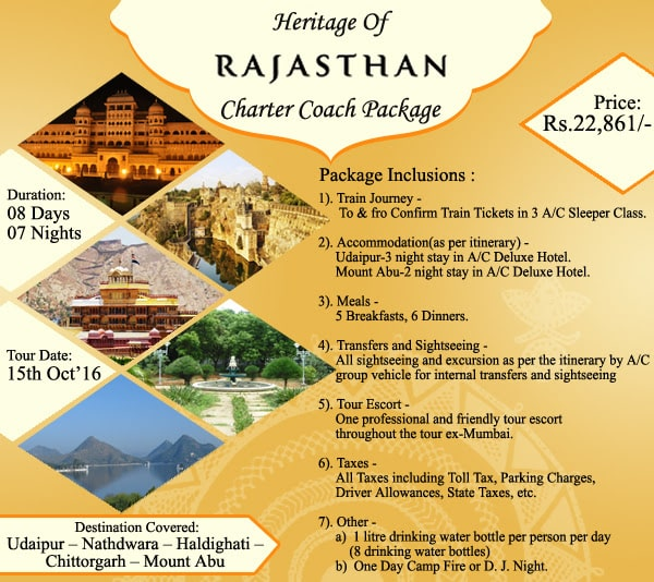 heritage of rajesthan charter coach package