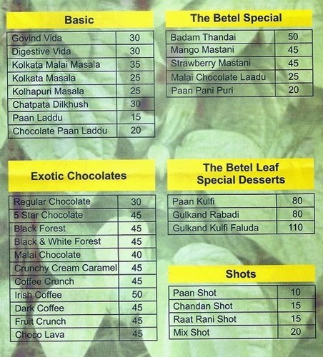 The Betel Leaf Pune Menu and Price card