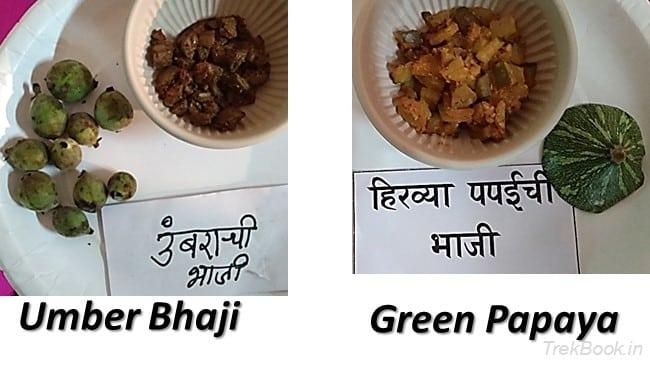 Umber Bhaji Green Papaya - wild vegetables in india
